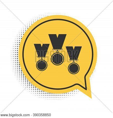 Black Medal Set Icon Isolated On White Background. Winner Simbol. Yellow Speech Bubble Symbol. Vecto