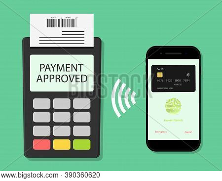 Payment From Phone On Pos Terminal. Pay Card For Transaction From Mobile. Icon Of Contactless Online