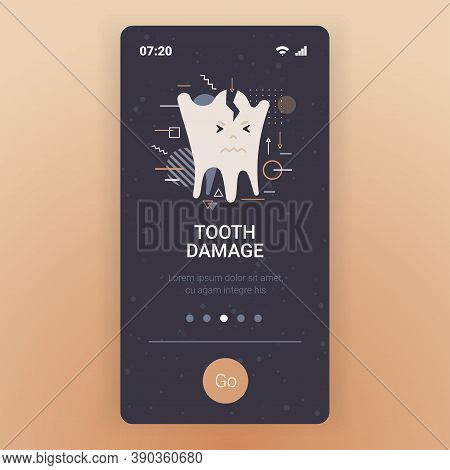 Unhealthy Sick Broken Molar Character Tooth Damage Dentistry Concept Smartphone Screen Mobile App Co