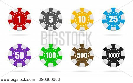 Poker Chip Of Casino. Token Or Coin Isolated On White Background. Set Of Red, Blue, Black, Green, Go