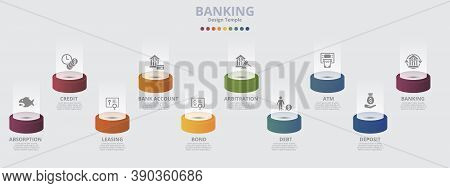 Infographic Banking Template. Icons In Different Colors. Include Absorption, Credit, Leasing, Bank A