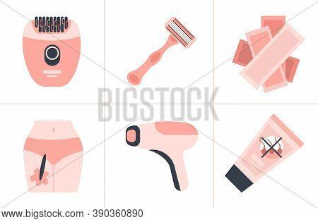 Set Shaving Razor Lazer Epilator Wax Strips Depilatory Sugar Paste Hair Removal Methods Concept Epil