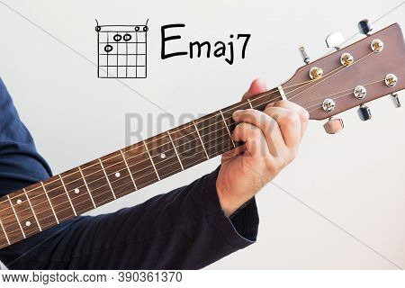Learn Guitar - Man In A Dark Blue Shirt Playing Guitar Chords Displayed On Whiteboard, Chord E Major