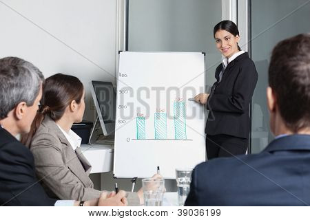 Businesswoman moderating strategy meeting for a business team in the office
