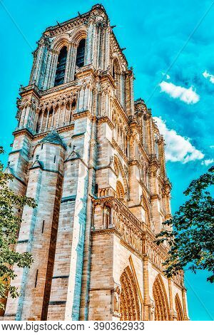 Front Side Of Notre Dame De Paris Cathedral, Most Beautiful Cathedral In Paris. France.
