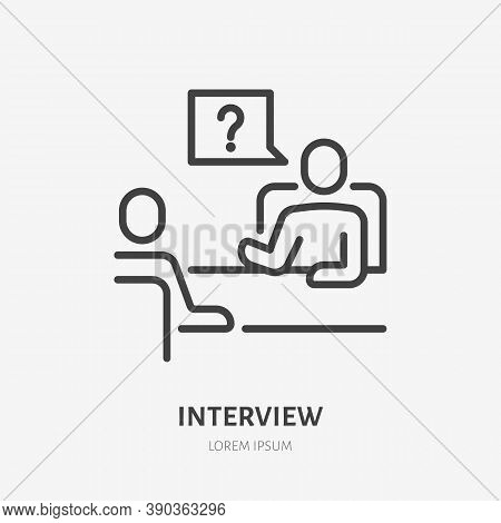 Job Interview Flat Line Icon. Business Person Conversation Vector Illustration. Thin Sign Of Boss Qu