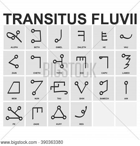 Vector Icon Set With Ancient Occult  Alphabet Transitus Fluvii For Your Project