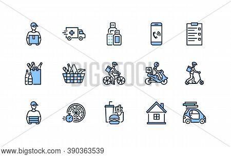 Food And Medicines Delivery Flat Line Icon Set Blue Color. Vector Illustration Couriers On Different
