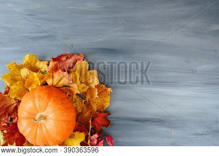 Autumn Leaves And Pumpkin Over Old Wooden Background With Copy Space Thanksgiving And Halloween Conc