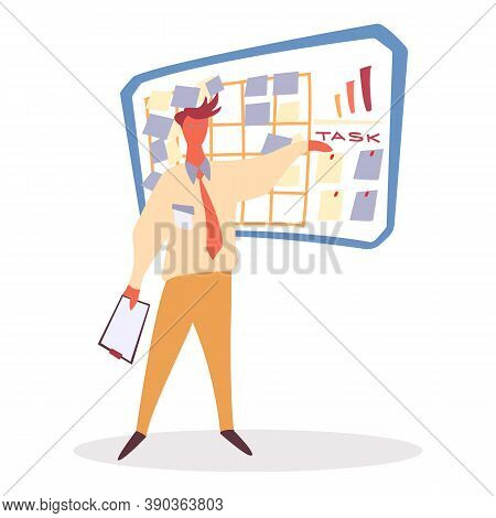 Man Character Holding Paper And Standing Near Planning Board. Worker Communication With Planner. Tas
