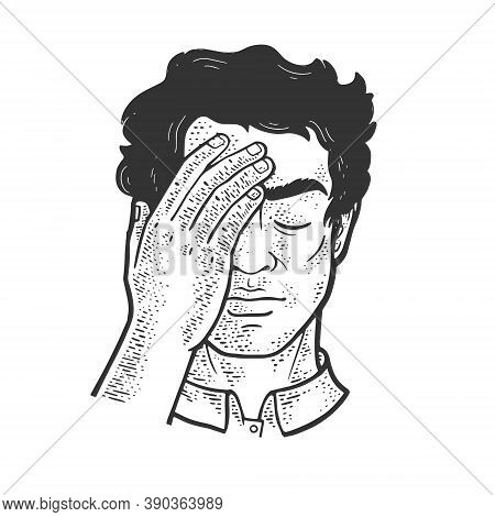 Facepalm Gesture Sketch Engraving Vector Illustration. T-shirt Apparel Print Design. Scratch Board I