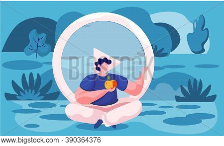 Man Meditating In Nature. Concept Illustration For Yoga, Meditation, Relax, Recreation, Healthy Life