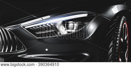 Detail shot of new modern premium car in studio light. Brandless modern style. 3D illustration