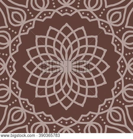 Mandala Colorful Vintage Art, Ancient Indian Vedic Background Design, Old Painting Texture With Mult