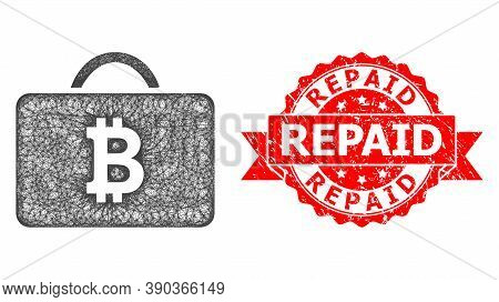 Net Bitcoin Case Icon, And Repaid Unclean Ribbon Seal Print. Red Stamp Seal Has Repaid Title Inside