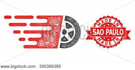 Wire Frame Car Wheel Icon, And Made In Sao Paulo Corroded Ribbon Seal Print. Red Seal Includes Made