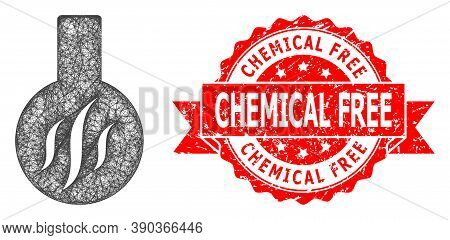 Wire Frame Chemical Aroma Icon, And Chemical Free Rubber Ribbon Stamp Seal. Red Stamp Has Chemical F