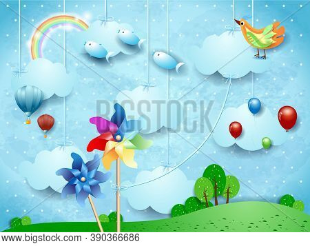 Surreal Landscape With Hanging Pinwheels, Balloons, Birds And Flying Fishes. Vector Illustration Eps