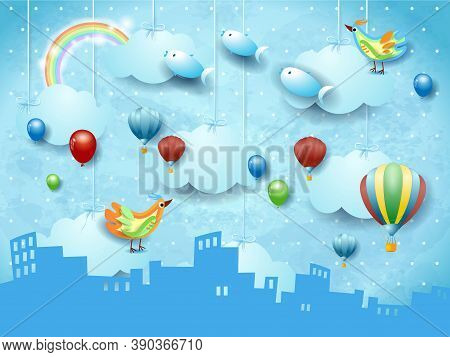 Surreal Landscape With Skyline, Balloons, Birds And Flying Fisches. Vector Illustration Eps10