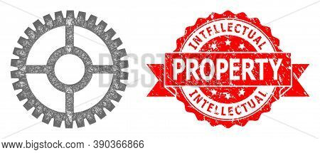 Wire Frame Clock Cog Icon, And Intellectual Property Grunge Ribbon Seal Print. Red Seal Includes Int