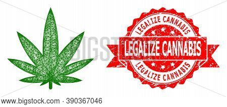 Wire Frame Cannabis Icon, And Legalize Cannabis Corroded Ribbon Stamp Seal. Red Stamp Seal Contains