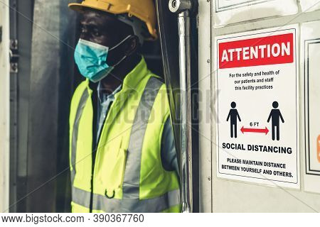 Caution Sign In Factory Warning To Industry Labor Worker To Prevent Covid-19 Coronavirus Spreading D