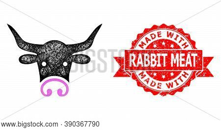 Net Bull Head Icon, And Made With Rabbit Meat Unclean Ribbon Stamp Seal. Red Stamp Seal Has Made Wit