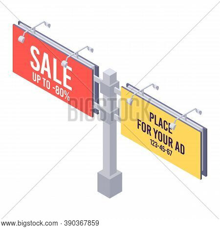Isometric Billboard With Red Sale Canvas For Outdoor Advertising. Billing Banner With Lamps For Ooh.