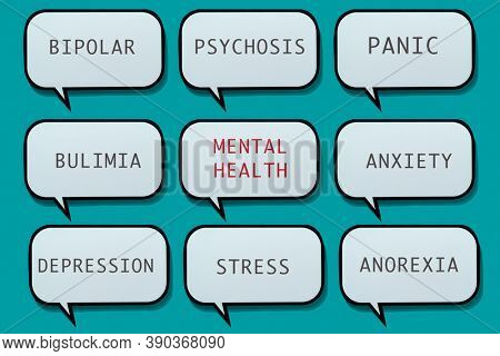 the name of some mental illnesses and disorders in different speech balloons on a blue background, for awareness of the importance of correct diagnosis and treatment in mental health