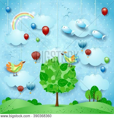 Surreal Landscape With Big Tree, Balloons, Birds And Flying Fishes. Vector Illustration Eps10