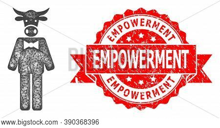 Wire Frame Bull Gentleman Icon, And Empowerment Rubber Ribbon Watermark. Red Seal Contains Empowerme
