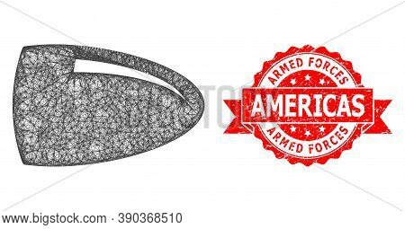 Wire Frame Bullet Icon, And Armed Forces Americas Rubber Ribbon Seal Imitation. Red Stamp Seal Has A