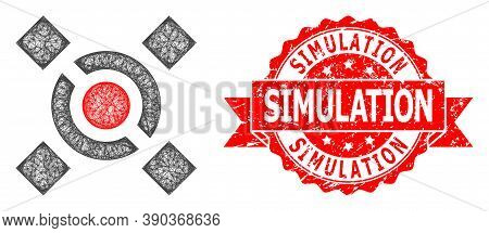 Wire Frame Central Link Icon, And Simulation Rubber Ribbon Stamp Seal. Red Stamp Seal Contains Simul