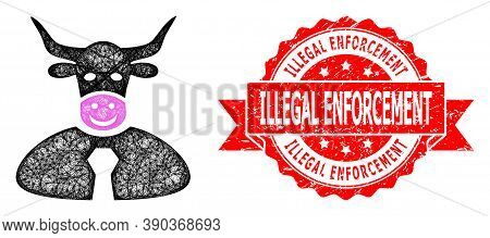 Net Bull Boss Icon, And Illegal Enforcement Scratched Ribbon Stamp. Red Stamp Seal Includes Illegal