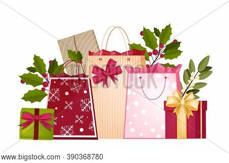 Christmas Winter Shopping Vector Illustration With Decorated Bags, Gift Boxes, Bows, Holly. X-mas Ho