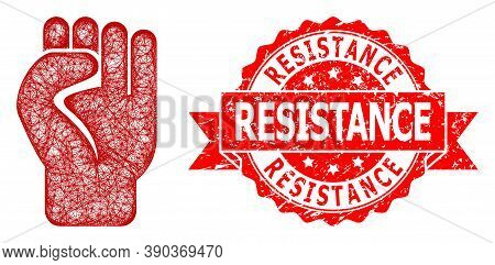 Wire Frame Clenched Fist Icon, And Resistance Scratched Ribbon Seal Imitation. Red Seal Has Resistan