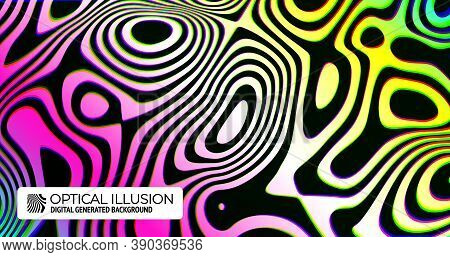 Wavy Stripes Background With Curved Ripple Lines In Trendy Colorful Optical Illusion Style. Trendy V