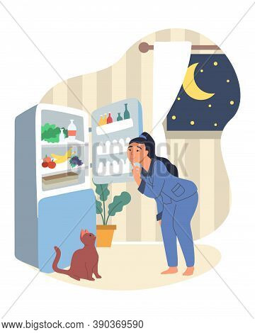Obesity And Weight Problems. Hungry Overweight Woman Standing In Front Of Open Refrigerator, Flat Ve