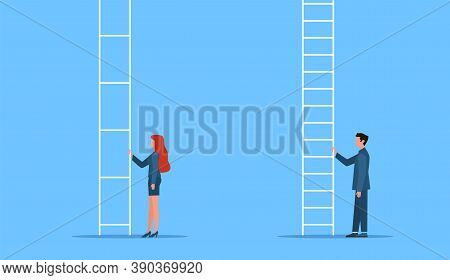 Gender Equality. Genders Gap, Man And Woman Stand At Career Ladder, Different Opportunities In Compa