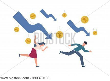 Finance Crisis Concept. Running Depressed People Falling Arrows And Gold Coins, Global Economic Mone