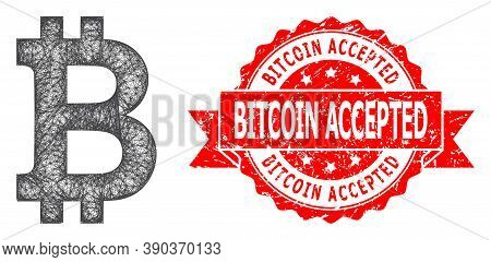 Wire Frame Bitcoin Icon, And Bitcoin Accepted Corroded Ribbon Stamp Seal. Red Stamp Has Bitcoin Acce