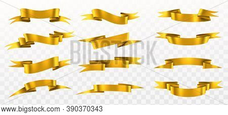 Golden Ribbon Set. Realistic Gold Curved Ribbons Collection, Empty Shine Yellow Paper Decorative Ele
