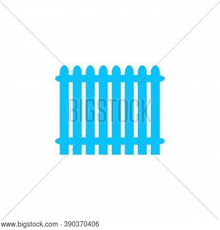 Fence Icon Flat. Blue Pictogram On White Background. Vector Illustration Symbol