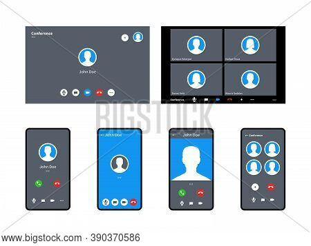 Call Screen Template. Incoming Video Calls Accept And Decline Button Anonymous Avatar Mobile, Tablet