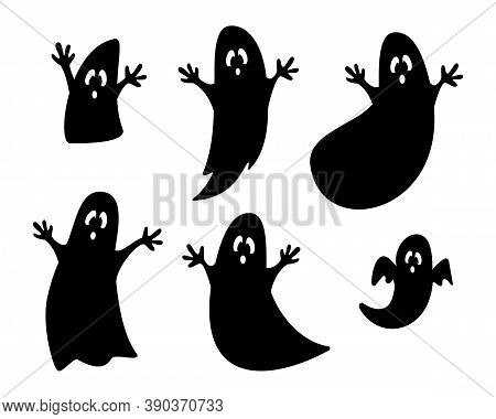 Set Of Black Ghosts Silhouettes Isolated On White Background. Ghost Collection For Halloween Charact