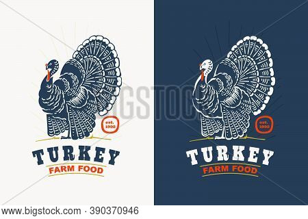 Turkey Bird With Big Tail Vintage Silhouette Logo. Classic Emblem For Prime Farm Label, Poultry Rest