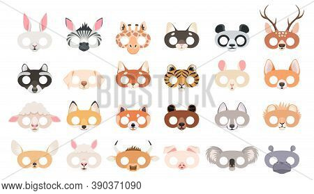 Animal Mask Set. Photo Booth Props Of Beasts Face Masks, Wild Zoo And Domestic Animals Head For Part