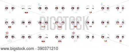 Manga Expression. Girl Eyes, Mouth, Eyebrows Anime Woman Faces. Female Character In Cartoon Japanese