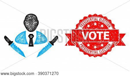 Wire Frame Butchery Boss Icon, And Presidential Election Vote Grunge Ribbon Stamp Seal. Red Stamp Ha
