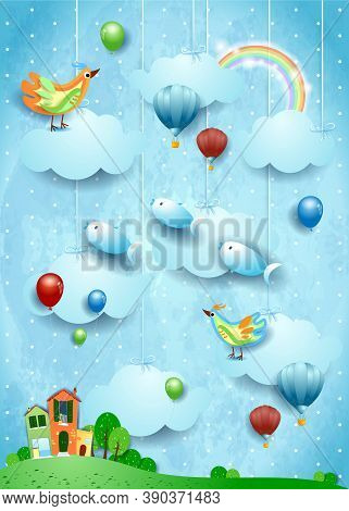 Surreal Landscape With Village, Birds, Balloons And Flying Fisches. Vector Illustration Eps10
